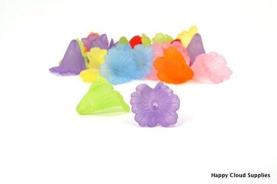 Medium Acrylic Ruffle Flower Bead Caps... 20pcs... Pick Your Colors