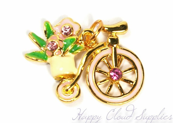 Sweet Country Bicycle with Flowers Enamel Charm with Rhinestones