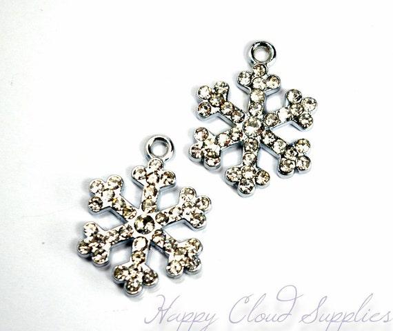 Silver and Rhinestone Snowflake Charms... 4pcs