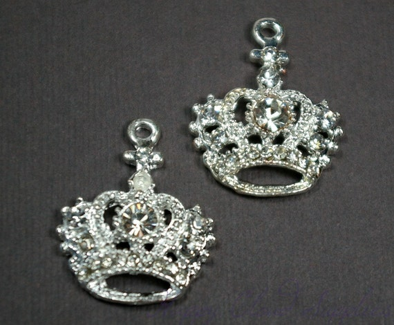 Clear Rhinestone and Silver Queen's Crown Charm... 2pcs