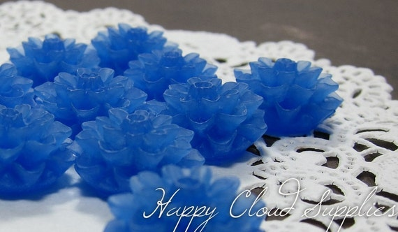 Frosted Acrylic Mum Chrysanthemum Dahlia Cabochons in Blue- Package of 12
