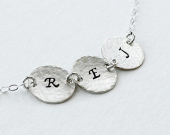 Three Initial Necklace - Sterling Silver Personalized Disc Jewelry, 3 Discs, Hammered, Matte and Shiny available