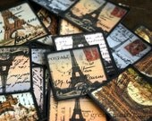 "25 Paris Stickers, 1.5"" (38mm) Vintage Paris Postcard Stickers, Eiffel Tower stickers, Square Paris labels, planner stickers, 100% Recycled"