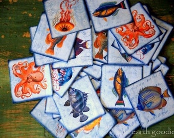 "25 Marine Life Stickers, Fish stickers, Octopus stickers, Jellyfish stickers, Recycled stickers, Labels, Seals, Blue 1.5"" (38mm) squares"