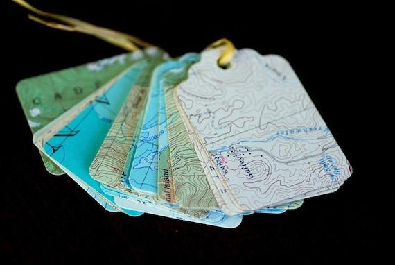 Eco Friendly / Handmade Map Gift Tags - Set of 25 - Green, Blue, Brown, Aqua