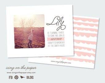 Simple & Sweet Birthday Party Invitations - PSD Template