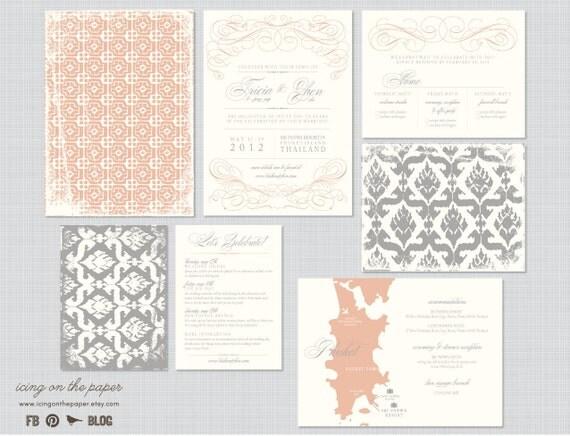 Destination Wedding Invitations - Wedding Maps/Wedding Invite/RSVPs/All in one