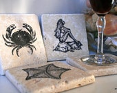 Nautical Tumbled Marble Coaster Set -Coastal Collection 2 - amalfigirl