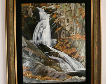 Original 16 x 20 Oil Painting of Sanderson Falls, MA Free Shipping