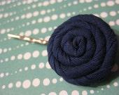Navy blue fabric flower bobby pin