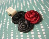 SALE Red, pewter, and black fabric flower hair clip