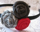 Red, Gray, and Pewter Fabric Flower Headband