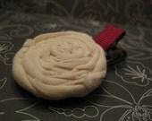 Cream Fabric Flower on a Ruby Alligator Clip