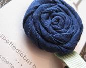 Navy Blue Fabric Flower on a Light Blue Alligator Clip