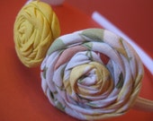 Yellow and Multi Colored Fabric Flower Headband