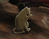 Sterling Silver Cat licking his paw