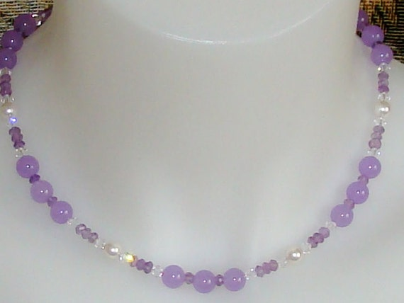 Lavender Jade, Ametrine, pearls and crystals Necklace and Earring set