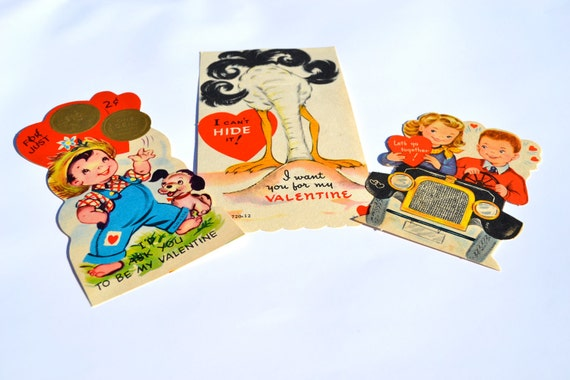 1940's Valentine Cards - Vintage Mid Century War Era Sweetheart Valentines Day Set of Three Be Mine Nostalgic Childhood Retro Paper Ephemera