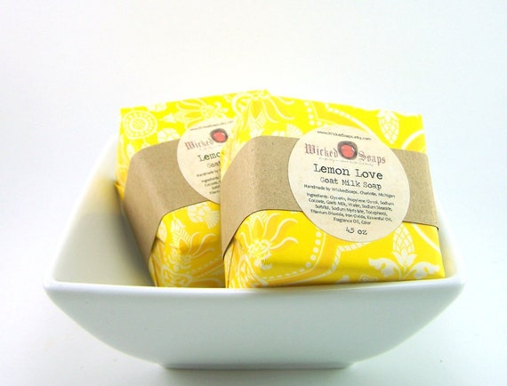 Lemon Love Goats Milk Soap Bar by WickedSoaps