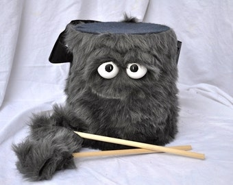 Kids Drum - Furry Grey Handmade Durable Eco-Friendly Fun Coolest Marching Drum For Kids 'BLAST BUDDY'