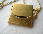 Te Amo Charm Necklace - envelope, letter, I love you, brass, gold