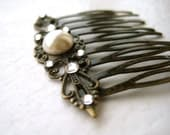Victorian Bridal Hair Comb - pearl, rhinestone, filigree, antique brass, tagt team