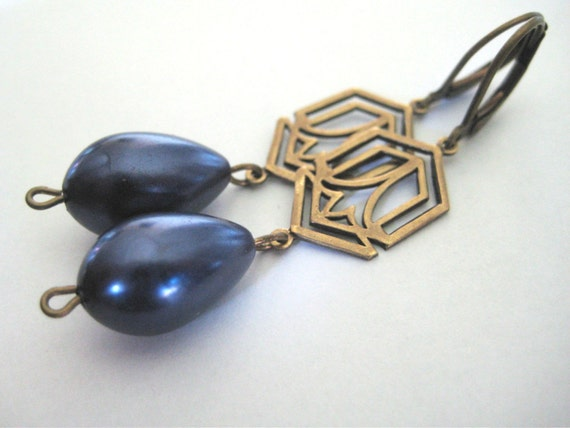 Blue Art Deco Earrings - antique brass, art deco, lever backs