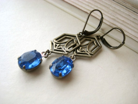Art Deco Wedding Earrings - vintage style, something blue, rhinestone, stained glass, antique brass, tagt team