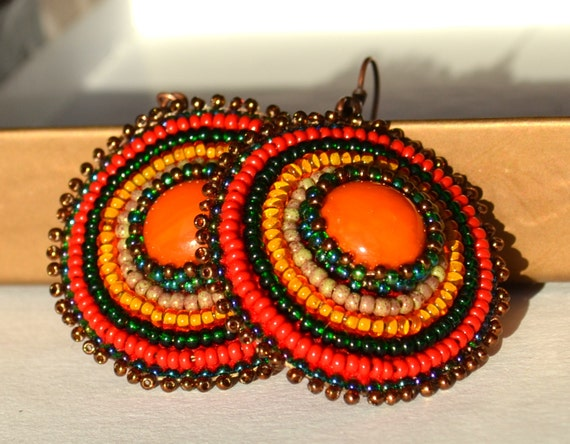 Bead embroidered earrings beaded orange sun bead earrings