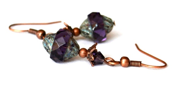 Purple antiqued beaded earrings