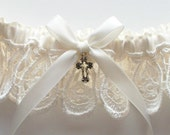 Wedding Garter with Ivory Satin Ribbon Bow and Cross Charm - Other Charms Available