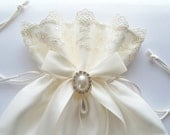Bridal Dance Bag with Lace Trim, Satin Bow and Pearl Surrounded by Crystal - The ALI