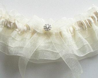 Wedding Garter and Toss Garter, Bride Garter in Ivory Organza Ruffles and Swarovski Crystal Centering - The MACKENZIE Garter