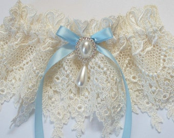 Wedding Garter with Light Blue Bow Topped by a  Pearl and Crystal Finding - The JESSICA Garter