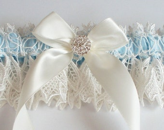 Ivory Bridal Garter and TOSS GARTER with Something Blue Satin Band, Ivory Bow and Rhinestone Centering - The KIMBERLY Garter