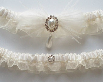 Bridal Garter Set in Ivory Topped by Pearl and Rhinestone Centering - The BRANDI Garter Set