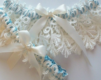 Wedding Garter Set on Peek-a-Boo Blue Band with Pearled Satin Ribbon Bow - The JILLIAN Garter Set