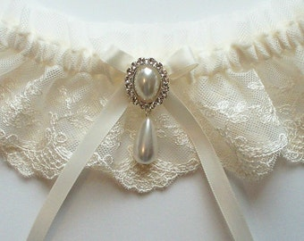 Lace Garter, Wedding Garter with Satin Ribbon Bow Topped by Pearl and Crystal Detail - The MEREDITH Garter