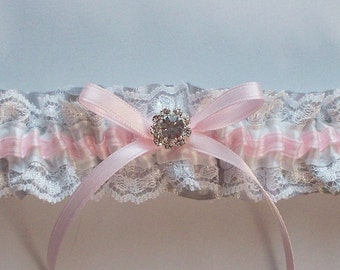 Pink and Gray Wedding Garter with Raschel Lace Detail - The TRICIA Garter