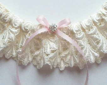 Ivory Garter with Light Blue Picot-Edge Ribbon Bow and Venise Lace Toss Garter - Petite JILLIAN