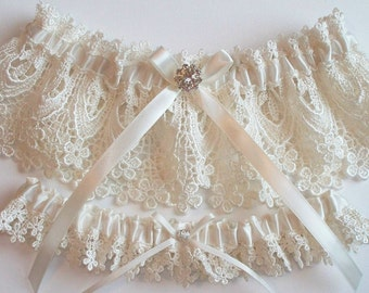 Wedding Garter Set with Beautiful Rhinestone Finding on a Satin Bow - The BETHANY LYNN Garters