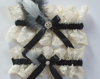 Wedding Garter Set, Black Garter Set, Ivory Lace Garter Set, Feather Garter Set, Rhinestone Garter Set  - The HANNAH Set