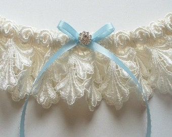 Ivory Garter and Satin Band Toss with Light Blue Picot-Edge Ribbon Bow and Swarovski Crystal Finding - The Petite JILLIAN Garter