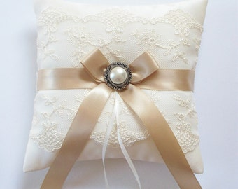 Wedding Ring Pillow in Ivory Lace, MINI-size, Champagne Bow and Vintage Look Pearl Detail - The LANA Pillow