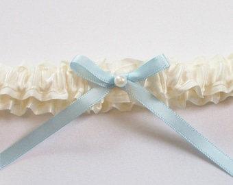 Wedding Toss Garter, Blue Bow, Pearl