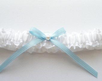 White Wedding Toss Garter in Satin, Blue Bow, Pearl