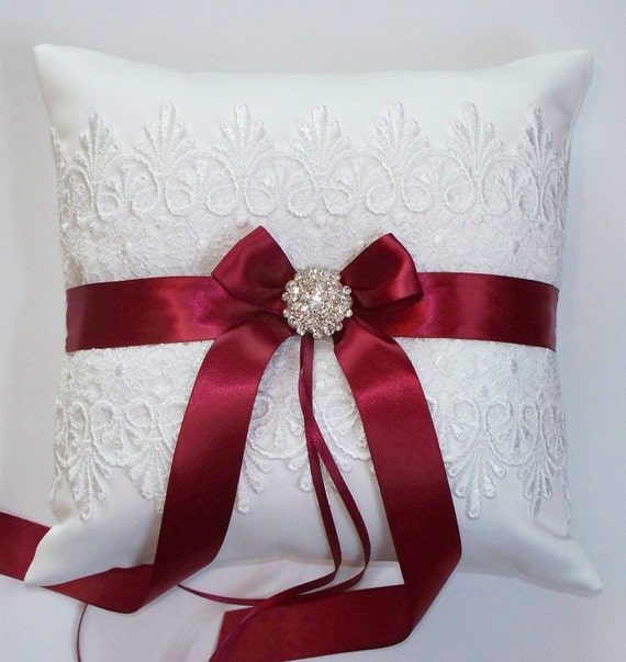 Wedding Ring Pillow in White Lace with Custom Color Ribbon Band and Bow