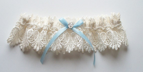 Wedding Garter, Ivory Garter with Light Blue Ribbon Bow and Margarita Crystal Center, Now Also Available in White - The Petite ALICIA Garter