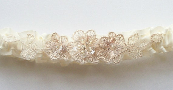 Ivory Bridal Garter with Champagne Embroidered Beaded Appliques - The HEIDI Garter