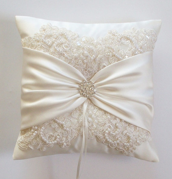 Wedding Pillow, Wedding Cushion, Lace Pillow, Ivory Satin and Beaded Alencon Lace, Ivory Satin Sash Cinched by Crystals - The MIRANDA Pillow